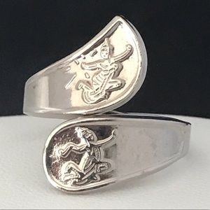 Vintage Ring Silver Tone Siam Design Retro 4X